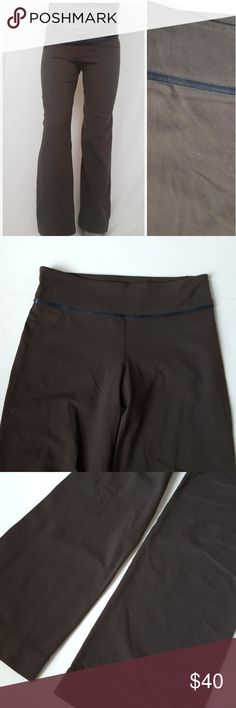 Lululemon brown pant size 6 -B8 Older style Lululemon brown pant, size 6. No size dot. Lululemon high quality material! Lots of stretch. Used item: inspected for quality and wear. Pictures show any signs of wear and use. Bundle up! Offers always welcome:)  Shop my husband's closet!: @kirchingeraaron lululemon athletica Pants