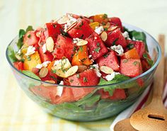 Tomato-Watermelon Salad with Feta and Toasted Almonds