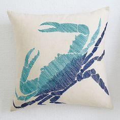 Wisteria - Accessories - Pillows & Cushions - Blue Aquatic Life Pillow Cover - Crab - $39.00 Wisteria, Pillow Covers, Cushions, Throw Pillows, Artwork, Decor Ideas, Blue, Home Decor, Outdoor