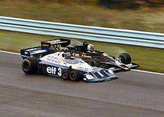 Swedish duel. Ronnie Peterson (Tyrrell P34) Gunnar Nilsson (Lotus 78). Watkins Glen 1977