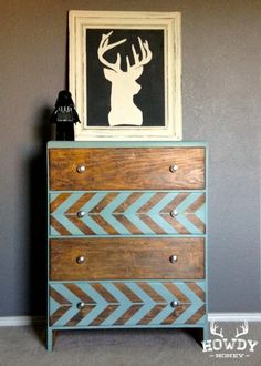 herringbone waterfall dresser makeover