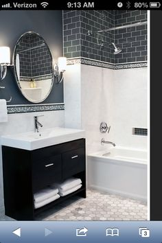 "Want to do this in the kids bathroom.   Tile from www.tileshop.com Carrara Gris 12x24"", Glass Smokey 3x6"", Hampton Carrara Hex 3x3"""