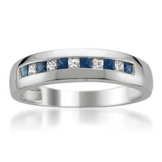 14k White Gold Princess-cut Diamond & Blue Sapphire Men\'s Wedding Band Ring (1/2 cttw, I-J, I1-I2)