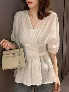 Summer Women Blouse Elegant Korean Style Chic V Neck Sexy White Shirt Thin See Through Office Blouses Female Black Casual Tops Hijab Fashion, Girl Fashion, Fashion Dresses, Fashion Design, Stylish Dress Designs, Stylish Dresses, Korean Fashion Trends, Latest Fashion For Women, Classy Outfits
