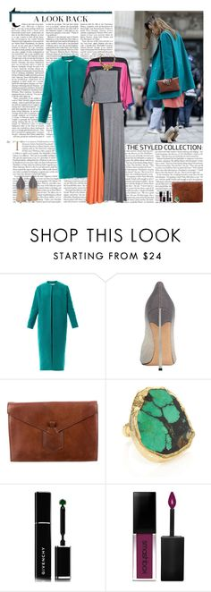"""Untitled #2813"" by helena99 ❤ liked on Polyvore featuring Lucas Nascimento, Casadei, Yves Saint Laurent, Dara Ettinger, Givenchy, Smashbox, colorblock, maxidress and coat"