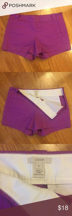 J. Crew Purple Shorts J. Crew shorts in a fun purple color, size 4. These have barely been worn and are in like new condition with no flaws! Bundle with my other J. Crew shorts for a discount! J. Crew Shorts