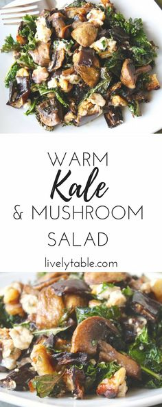 A delicious warm salad with roasted kale, mushrooms, and eggplant, tangy goat cheese, walnuts and balsamic vinaigrette. It's the perfect side dish for cooler weather. (gluten-free, vegetarian)