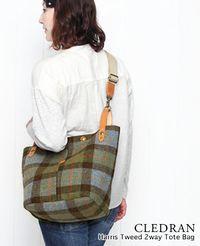 CLEDRAN [クレドラン] ハリス ツイード 2way トート バッグ