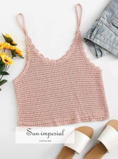 SheIn offers Crochet Crop Cami Top & more to fit your fashionable needs.Pattern Type: Plain Bust (cm): 78 cm Length (cm): 45 cm Size Available: one-size Neckline: Spaghetti Strap Fabric: Fabric has some stretch Season: Summer Type: Cami Length: Crop Crochet Cami Tops, Crochet T Shirts, Crochet Summer Tops, Crochet Blouse, Crochet Clothes, Diy Clothes, T-shirt Au Crochet, Bikini Crochet, Mode Crochet