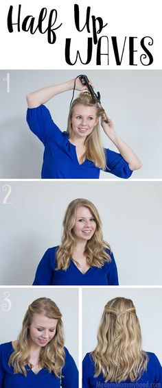 Half Up Waves Hair Tutorial - an easy style that's quick to do! Sea Salt Spray is the key to adding texture and holding the look all day! #StyleItYourself