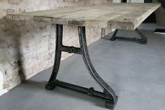 This industrial design table has old cast iron legs as a base and a sturdy industrial tabletop of reclaimed oak carriage planks. Please take a look at our website for more tables, pictures and info