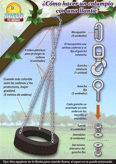 Haz tu propio columpio con una llanta y cadenas. Ideal para tu patio o terraza. #Hazlotumismo
