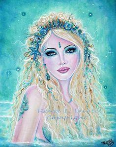Items similar to Sherella fantasy Mermaid MRMD ocean seashells print by Renee L. Lavoie on Etsy Fantasy Mermaids, Mermaids And Mermen, Paintings Of Mermaids, Vintage Mermaid, Mermaid Art, Tattoo Mermaid, Photo Portrait, Portrait Art, Portraits