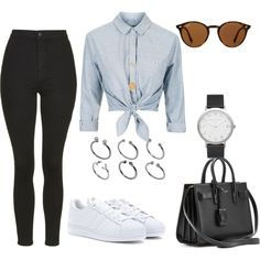 Untitled #337 by charlotte-down on Polyvore featuring polyvore, fashion, style, Topshop, adidas Originals, Yves Saint Laurent, ASOS, Ray-Ban and clothing