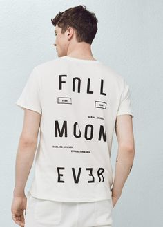 Printed cotton-blend t-shirt | MANGO MAN