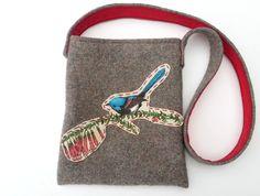 Kid's Foraging Bag - Bird applique Bird Applique, Vintage Wool, Wool Blanket, Berry, Felt, Kids, Products, Fleece Blanket Edging, Young Children