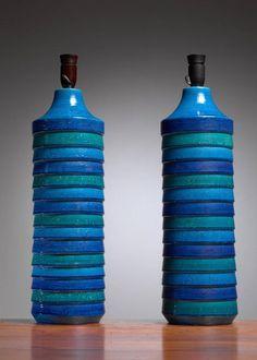 Aldo Londi Pair of Large Ceramic Table or Floor Lamps for Bitossi, Italy, 1960 2