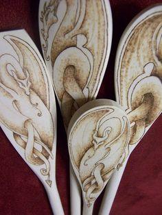 wood burning dragon spoons