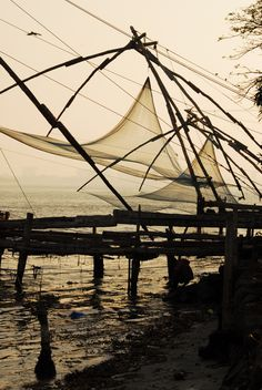 fish nets at Cochin Fort, Cochin, India. www.mountainadventuresindia.com