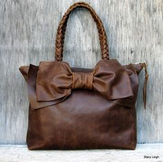 Leather Bow Handbag in Distressed Brown by Stacy by stacyleigh, $350.00