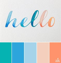 a watercolor-inspired color palette // teal, blue, nude, orange
