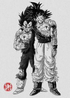 A Battle Worn Goku and Vegeta Dragonball Goku, Goku E Vegeta, Son Goku, Dragon Ball Gt, Majin Boo, Animes Wallpapers, Naruto, Otaku, Anime Boys