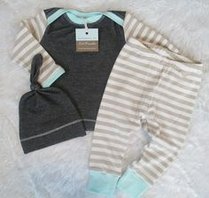 This is such an adorable outfit for bringing your baby home from the hospital or for snuggling your baby! Super comfy and cozy bamboo fabric