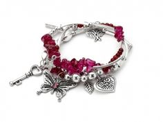 Hot Pink Natural Stones & Butterfly Charm Bracelet