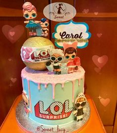Lol Surprise Birthday Party.  Lol Surprise Birthday Cakes. Lol Big Surprise. Lol Surprise Cakes. Pizza Party Birthday, Doll Birthday Cake, Homemade Birthday Cakes, 7th Birthday, Birthday Parties, Soy Luna Cake, Lol Doll Cake, Candy Buffet Tables, Surprise Cake
