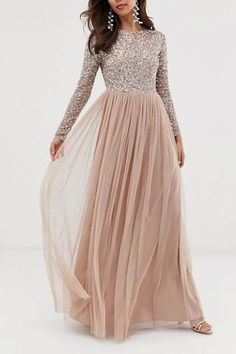 Buy Maya Bridesmaid long sleeve maxi tulle dress with tonal delicate sequins in taupe blush at ASOS. With free delivery and return options (Ts&Cs apply), online shopping has never been so easy. Get the latest trends with ASOS now. Embellished Bridesmaid Dress, Bridesmaid Dresses With Sleeves, Blush Dresses, Maxi Dress With Sleeves, Tulle Dress, Prom Dresses, Sparkly Bridesmaid Dress, Mariage, Party