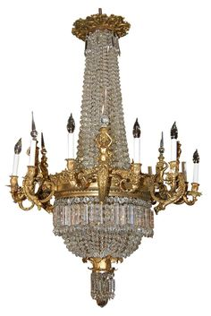 Magnificent French Bronze and Crystal Chandelier via Ruby Lane