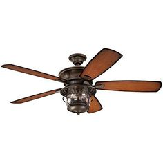 Westinghouse 7800000 Brentford Indoor/Outdoor Five-Blade Reversible Ceiling Fan with Clear Seeded Glass, 52-Inch, Aged Walnut Finish ,…