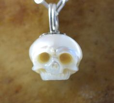 Carved Skull Pearl Handmade Necklace on Sterling by ArloEdgeWalker