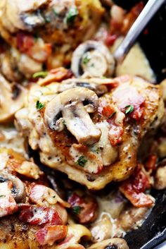 Creamy Bacon Mushroom Thyme Chicken is honestly one of the best skillet meals you will ever make! Tender chicken with a creamy sauce with bacon, mushroom, and thyme. The flavor is out of this world! You guys. I have made a few really really good skillet chicken meals in my day. They are getting some …