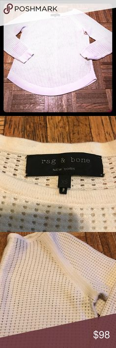 Rag & Bone Honeycomb Knit Sweater Size XS Tag & Bone open Knit Sweater. This is a beautiful sweater. The color is off white. Size XS rag & bone Sweaters Crew & Scoop Necks