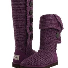 Purple classic candy crochet uggs Purple crochet classic Casey uggs in kids size 2 .....believe it could fit up to an adult 5.   These authentic UGG boots are pre loved and in Excellent condition.  Gently worn.  Priced to sell. UGG Shoes Boots