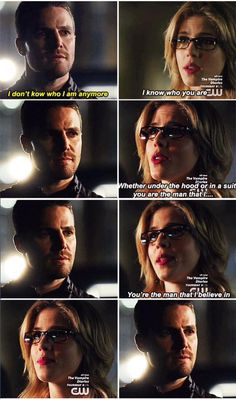 his face softens in the third one, he's waiting for her to say it. Arrow - Oliver & Felicity #3x19 #Season3 #Olicity