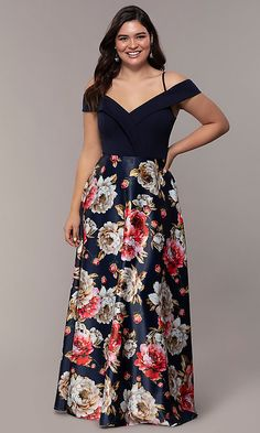 Shop plus-size long navy formal dresses with print skirts at Simply Dresses. Off-the-shoulder evening dresses for prom and v-neck plus-sized dresses with folded collars and floral-print satin skirts. Plus Formal Dresses, Affordable Prom Dresses, Plus Size Prom Dresses, Trendy Dresses, Floral Print Skirt, Floral Maxi Dress, Long A Line Skirt, Long Skirts, Full Figure Dress