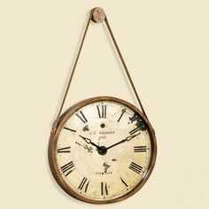 Hanging Decorative 24-in. Wall Clock with Faux Leather Strap $99.99