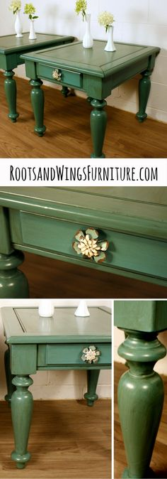 Pair of Teal End Tables using General Finishes Milk Paint and Van Dyke Brown Glaze Effects by Jenni of Roots and Wings Furniture.