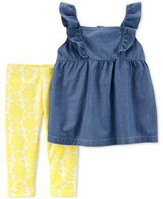 Carter's Two-Piece Chambray Flutter Top And Floral Leggings Set Toddler Girls - Denim - Floral Leggings, Tops For Leggings, Pink Leggings, Tunic Leggings, Capri Leggings, Pattern Leggings, Cotton Leggings, Little Girl Leggings, Kids Fashion