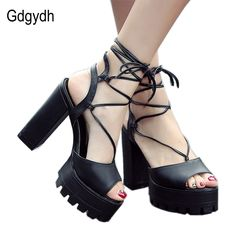Gdgydh Fashion Black Lacing Gladiator Sandals Women Summer Shoes Thick High Heels Platform Rome Shoes Ankle Strap Big Size 34-43