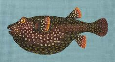 Melissa Shirley Designs   Hand Painted Needlepoint   Fancy Brown Fish
