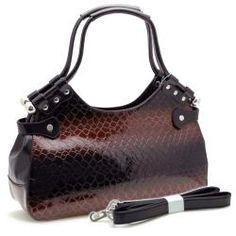 Dasein Snakeskin Embossed Patent Faux Leather Shoulder Bag      Overstock.com