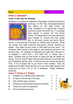 As Halloween is here once again, I made this reading comprehension for my ESOL learners who do not know what Halloween means. It is reading practice and information. English Reading, English Writing, Teaching English, Education English, Teaching Spanish, Reading Comprehension Worksheets, Reading Passages, English Vocabulary, English Grammar