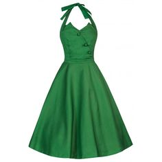 Myrtle Green Halter Neck Swing Dress | Vintage Dresses - Lindy Bop
