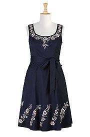 Floral embellished scoop neck dress
