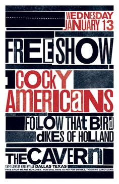 GigPosters.com - Cocky Americans - Follow That Bird - Dikes Of Holland