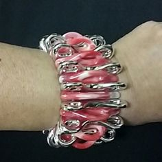 Red/White/Silver Bracelet Stretchy bracelet that's fun to wear! Euc  Any questions,please ask!  *Fight like A girl* Other Jewelry Bracelets