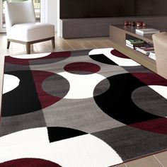 Living Room? - This gorgeous contemporary and casual rug is a dream for interior decorators, and showcases lovely rich colors like white, grey and burgundy.